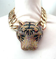 Butler and Wilson Topaz Gold Crystal Enamel Tiger Head Chunky Chain Necklace NEW