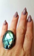 Handmade Any Size Sterling Silver Wrapped Sea Green Labradorite Ring Size 9.5 or