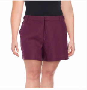 New Womens Lord & Taylor Mulberry Linen Shorts Plus Size 22W $80