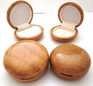 Luxury ROUND Natural WOOD Jewellery Gift Box-Earring/Necklace Ring-Top Quality