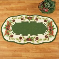Scalloped Border Christmas Pinecone Non-Skid Kitchen Home Accent Rug
