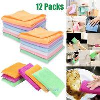 12Packs Microfiber Dish Cloths Sponges Super Absorbent Kitchen Wash Cloth USA