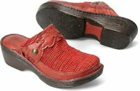 Born Pittina Red Leather/Fabric Clogs/Mules/Slip On Women's Shoes Size 7 new