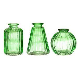 Sass & Belle Green Glazed Glass Bud Flower Vintage Decorative Vases - Set of 3