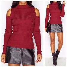 WOMENS LADIES LONG SLEEVE HIGH NECK RIB KNITTED CUT OUT COLD SHOULDER JUMPER TOP
