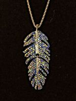 Betsey Johnson Necklace Silver Feather Blue Crystals  Gift Box Organza Bag LK