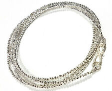 "925 Sterling Silver 24"" Strand Necklace Silver Pyrite Gemstone Round Beads lok14"