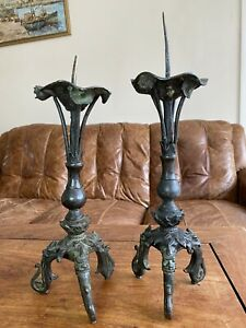 Ming dynasty pair of Chinese bronze candlesticks