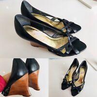 Women's FAITH Black Leather Wedges Summer Shoes Slip On UK 6 Comfort Wedge Heel