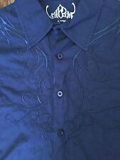 Pelle Pelle Mens Button-Down Shirt XL Embroider Blue Western Longsleeve Detroit