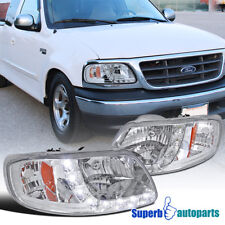 1997-2003 Ford F150 2004 Heritage Chrome SMD LED DRL Headlights Head Lamps Clear