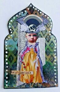 """""""SELF CONFIDENT"""" strange weird collage Original outsider Artist SURREAL Arch"""