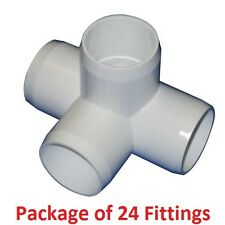 "1-1/4"" Furniture Grade 4-Way Side Outlet Tee PVC Fitting - 24 Pack"