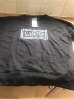 "Ladies Black Logoed ""L'Amour"" Sweat Top Size Uk 8"