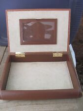 Vintage Leather? Desk or Vanity Organizer Box, 14.5in.x10.5in.x 3.5in. Gd.Cond