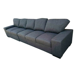 Upholstered Ottoman Armless Sofa Couch Furniture Fabric Long Seater Dark Blue
