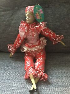 """Sugar Loaf Mardi Gras Jester Doll, 18"""" Red,Pink& Silver Valentines With Tags"""