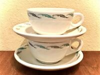 Homer Laughlin Cup & Saucer Qty 2 Blue Gray/Grey Feather/Fern Atomic Don Edwards