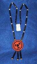 "Beaded  2.5"" dia Rosette Necklace w/ Bone Hairpipe  Native American Regalia #11"