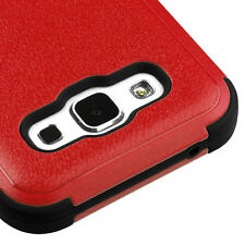 For SAMSUNG Galaxy E5 RED BLACK TUFF RUBBER SKIN COVER CASE + SCREEN PROTECTOR