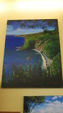 """Road to Hana"" Shore View Oil Painting by Kirk Flood 27"" x 51"" - *Store Pick Up*"