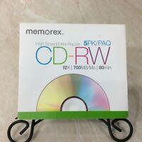 MEMOREX HIGH SPEED CD-RW 12X 700 MB 80 MIN REWRITABLE CD'S W/ JEWEL CASES 5 PACK