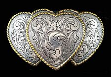 RODEO COWGIRL TRIPLE HEART WESTERN SILVER & GOLD PLATED TROPHY BELT BUCKLE