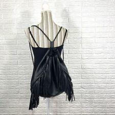 Victoria's Secret Black Faux Leather Fringed Backpack