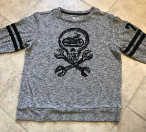 Epic Threads Big Boys Sweater Top Long Sleeve Grey Skull Size Youth Large