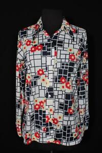 VINTAGE FRENCH 1970'S VIVID SILKY POLY FLORAL PRINT BLOUSE SIZE MEDIUM