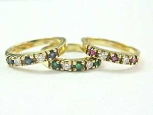 Natural Ruby Sapphire Emerald & Diamond Yellow Gold 3 Rings 1.23Ct 14KT