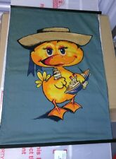 "1960's Vintage ""SEASICK DUCK"" Wesco Fabric Panel 20"" x 29"" Tapestry wall hanging"