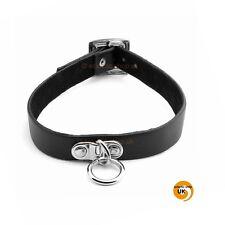 Vintage Style Punk Rock Emo Boho Single O RING Leather Collar Choker Necklace