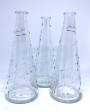 "Set Of 3 IKEA Cone Bud Vase Clear Glass Bubble Dot By Emma Dafnas 7 1/4"" Tall"