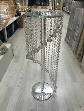 65 Spiral Silver Mirrored Table side Glass Stand Bed Side Sparkle Crystal Romany