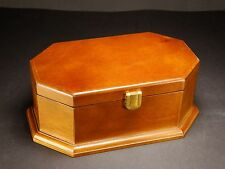 Brown wooden jewellery box trinket with interior mirror new with small chip/mark