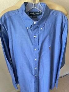 "RALPH LAUREN Yarmouth Blue Solid Long Sleeve Button Up Shirt 16 1/2 - 34"" **"