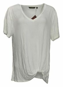 IMAN Global Chic Women's Top Sz XL Knot-Front V-Neck Tee White 737648