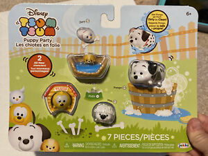 Disney Tsum Tsum PVC 5 pack PUPPY PARTY Pongo Color Changer Dogs Dog