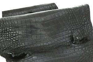 Crocodile Skin Leather Hide Exotic Skin Craft Supply Belly Black SZ 30cm #1215