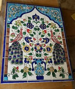 Large Peacocks Hand Painted 12 Ceramic Tile Mural-Disrupted shipping