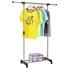 Us Rolling Adjustable Garment Rack Closet Organizer Clothes Home Hanging Hanger
