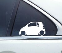 x2 Lowered car silhouette stickers - for Smart Fortwo 2nd gen W451 | 2007-2014