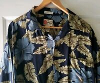 Hilo Hattie Mens Hawaiian Aloha Shirt rayon Blue Camp Size XL