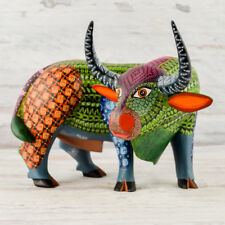 A1338 Bull Alebrije Oaxacan Wood Carving Painting Handcrafted Folk Art