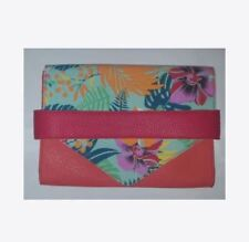 JustFab Women's Orange Pink Hawaiian Floral Envelope Clutch Handbag