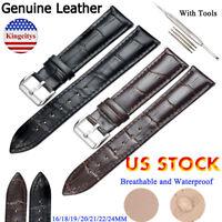 Genuine Leather Wristwatch Watch Strap Band Women Men Size 16-24mm Strap Belt