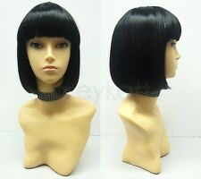 Black Short Bob Wig Straight Bangs Cosplay Page Boy Mia Wallace Pulp Fiction 9""