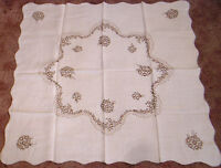 Vintage Tablecloth Brown Linen  Embroidered Needlework Flowers Ruffled Edge