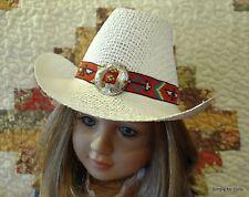 "MY TWINN WHITE Weave COWBOY HAT with Southwestern Trim fits 23"" Poseable Doll"